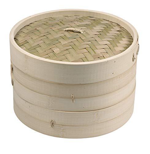 Imusa 419095 USA PAN-10015T 10 2 Layer Traditional Asian Bamboo Steamer 1 Piece Tan