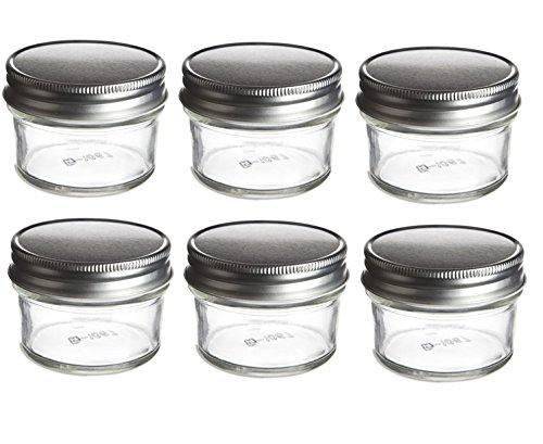 Nakpunar 6 pcs 4 oz Mason Glass Jars with Silver Lids