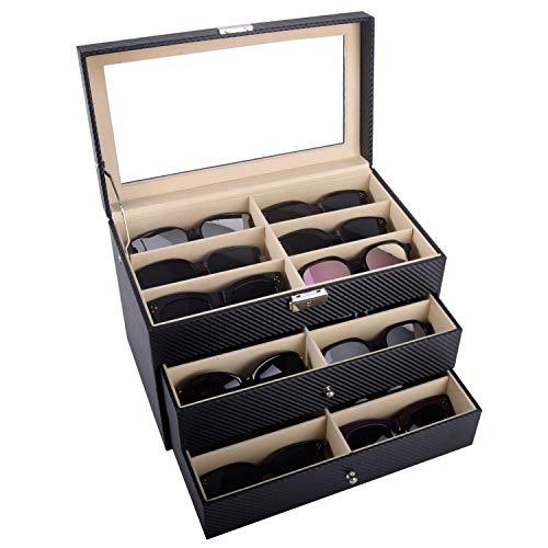 AUTOARK Carbon Fiber Leather 18 Piece Eyeglasses Storage and Sunglass Glasses Display Drawer Lockable Case OrganizerBlackAW-057