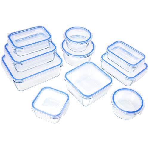 AmazonBasics Glass Locking Lids Food Storage Containers 20-Piece Set