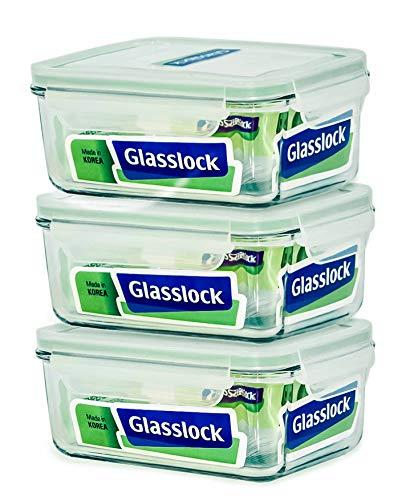 Glasslock Food-Storage Container with Locking Lids Microwave Safe 6pcs Set Rectangular 64oz1900ml
