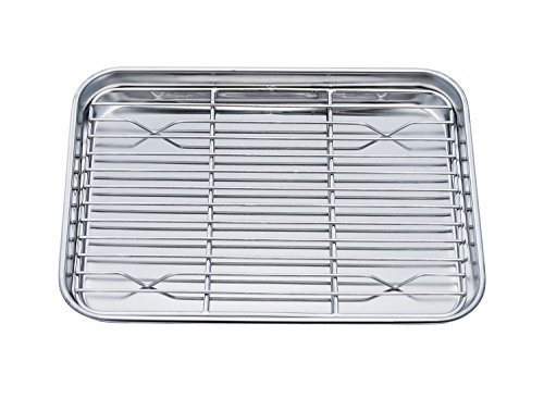 TeamFar Toaster Oven Pan Tray with Cooling Rack Stainless Steel Toaster Ovenware broiler Pan Compact 8x10x1 Healthy Non Toxic Rust Free Easy Clean - Dishwasher Safe