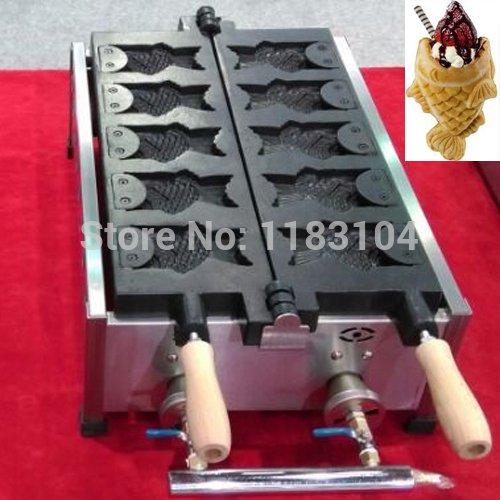 LPG Gas Icecream Open Mouth Taiyaki Japanese Fish Waffle Maker Machine Baker Iron Mold