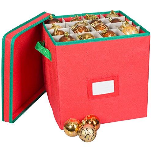 Pakkon Christmas Decoration Ornaments Storage Box with 4 Trays Red