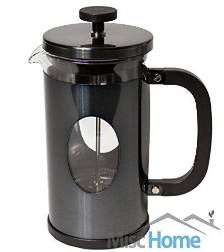 1 Liter 34 Oz Gourmet Gunmetal Finish Stainless Steel French Press Coffee Maker Tea Maker Coffee Press Gunmetal