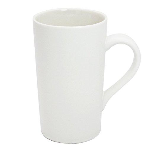 Momugs 16 OZ Plain Large Tall White Ceramic Milk Tea Coffee Mug with Handle as A Gift for Dad Mom Friends