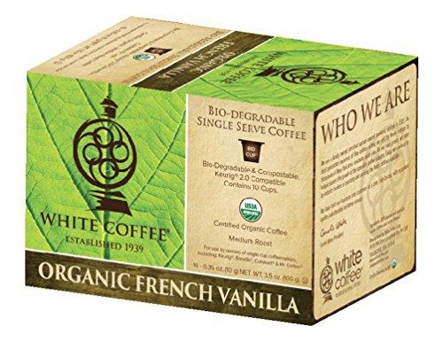 White Coffee Organic Single Serve Coffee French Vanilla 10 Count