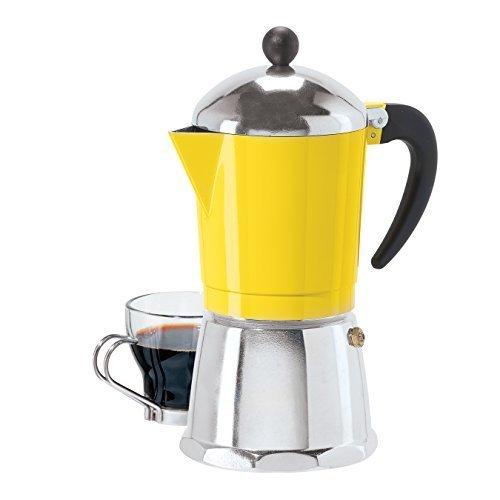 6 Cup Cast Aluminum Stovetop Espresso Maker 355 ML12 Oz Yellow