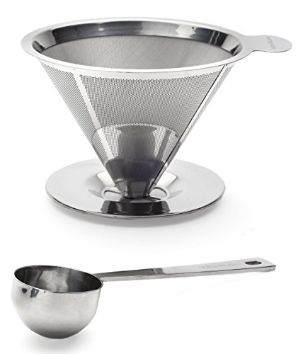 Pour Over Coffee Dripper Paperless Stainless Steel Reusable Coffee Filter Single Cup Coffee Maker and Measuring Scoop by Vista Milano