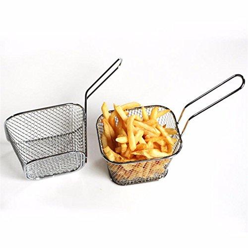 Katoot 8Pcslot Chips Mini Fry Baskets Stainless Steel Fryer Basket Strainer Serving Food Presentation Cooking Tool French Fries Basket