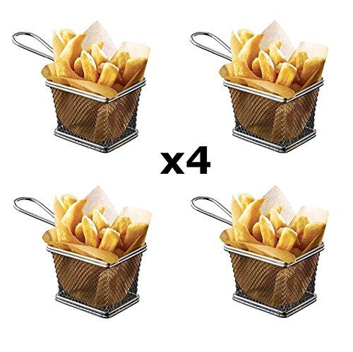 StillCool 4pcs Mini Fry Basket Square Stainless Steel Fryer Basket Present Fried Chip Food Table Serving