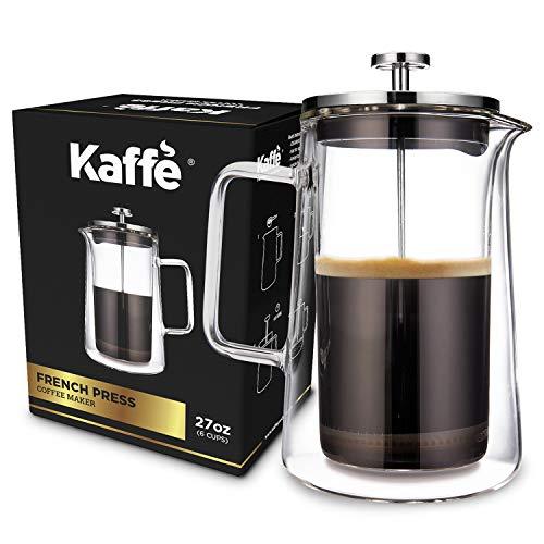 KF1010 French Press Coffee Maker by Kaffe Double-Wall Borosilicate Glass 27oz  08L 6-cup