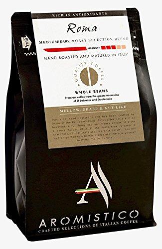 Aromistico  Italian Medium Dark Roast Whole Bean Gourmet Coffee Blend Finest Smooth Aroma  ROMA BLEND DARK MELLOW SHARP NUT-Like  For Pour Over Drip Chemex Espresso Moka Cafetiere