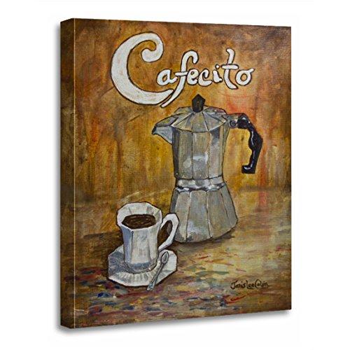 TORASS Canvas Wall Art Print Cafe Cafecito Cuban Coffee Perculator Cup Saucer Spanish Artwork for Home Decor 12 x 16