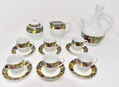 EthiopianEritrean Coffee Cups Sábà Edition Full set 23 Pcs Comes with 6 cups 6 saucer 6 spoons milksugar pot