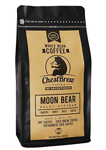 Chestbrew Whole Bean Coffee Strong Dark Roast Vietnamese Coffee - Moon Bear Premium 20 Ounce Bag