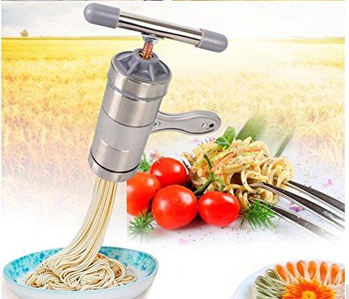 Awakingdemi Stainless Steel Manual DIY Kitchen Noodle Press Machine Vegetable Fruit Juicer Maquina Pasta Maker with 5 Noodle Mould 1 set Silver