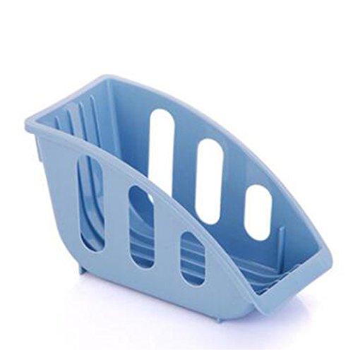 Kitchen Dish Plate Drying Rack Organizer Drainer Storage Plastic Basket Holder Blue