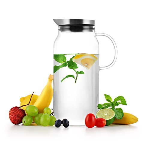 Samadoyo 13 liter 44oz Borosilicate Glass Water Pitcher With Built-In Strainer for Fruit Infusions