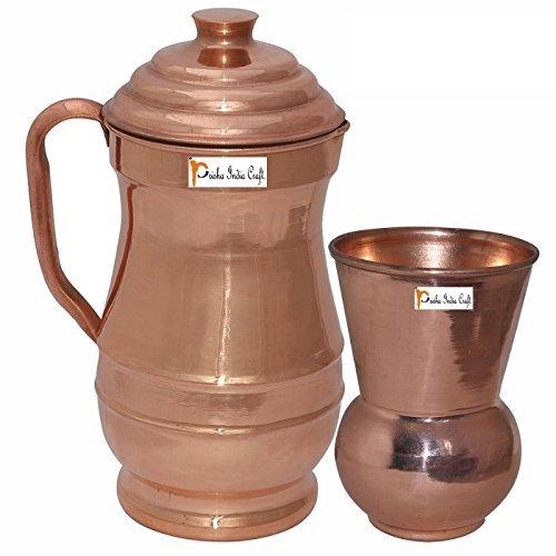 Prisha India Craft Pure Copper Jug Water Pitcher with Lid Indian Copper Utensils Capacity 19 L by Prisha India Craft