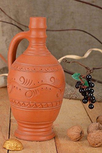Handmade Small Beautiful Decorative Ethnic Ceramic Bottle 330 Ml Wine Pitcher