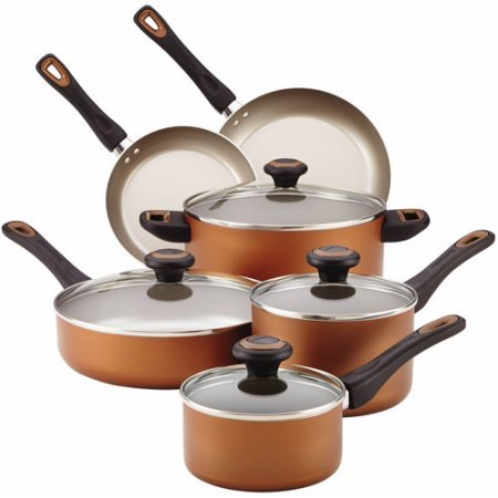 Farberware Dishwasher Safe High Performance Nonstick 15-Piece Cookware Set Copper