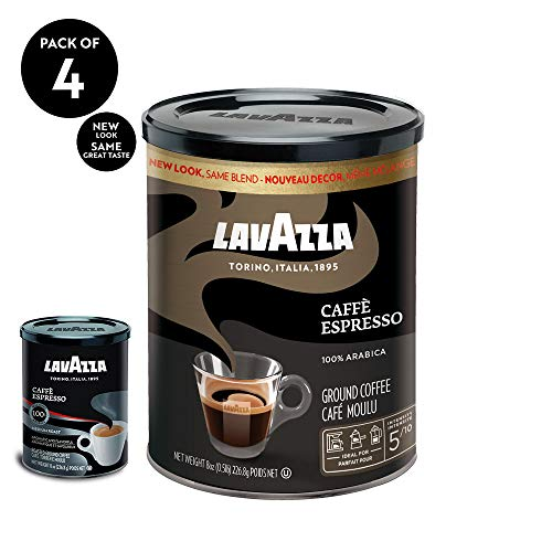 Lavazza Caffe Espresso Ground Coffee Blend Medium Roast 8-Ounce CansPack of 4