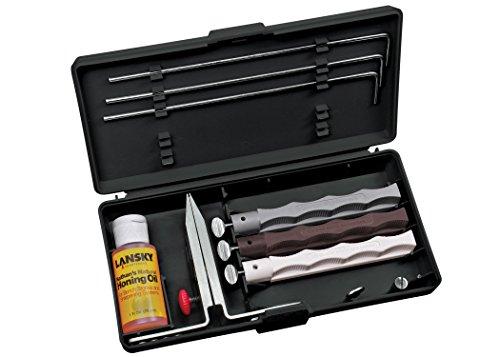 Lansky Natural Arkansas Sharpening System with Natural Arkansas Coase Medium and Fine Hones