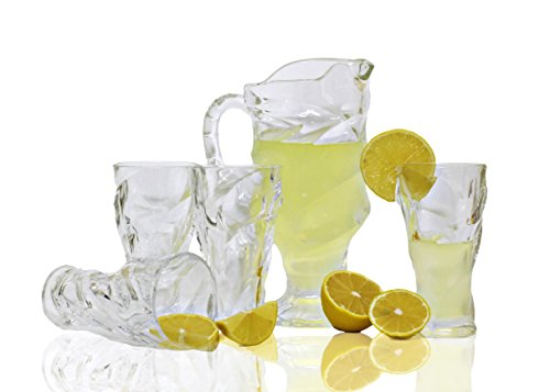Bezrat Sangria Tea Lemonade and Juice Glass Water Pitcher with Spout 7-Piece Entertainment Set