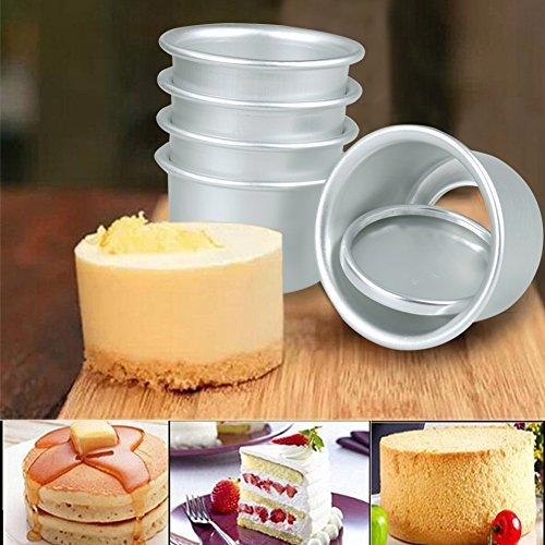 Aluminium Mini Round Chiffon Cake Pan Pudding Chocolate Baking Mould with Removable Bottoms DIY Baking Tools Set of 5