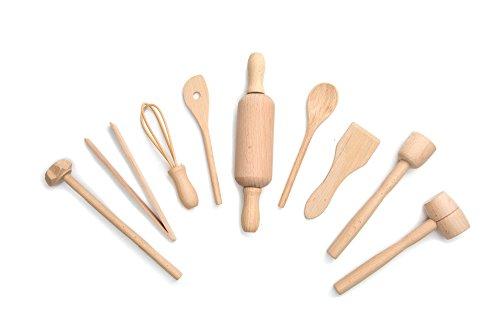 Fox Run 4932 Kids CookingBaking Tools Set Wood 9-Piece