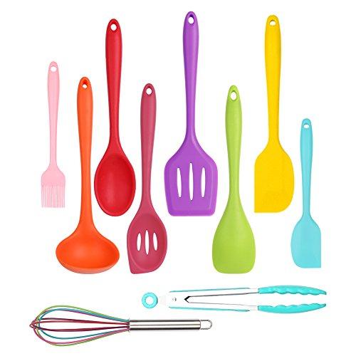 Kitchen Utensils Cooking Set Home-Best-Buy 10 pcs Premium Heat Resistant and Non-Stick Silicone Kitchen CookingBaking Tools Set Multicolor Multicolor - 10 pec