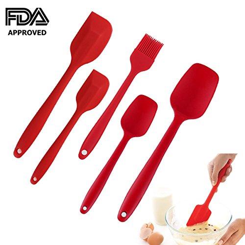 Atteavor Silicone Spatula Set Heat Resistant Non-Stick Baking Spoon Spatula 5 pieces Flexible Kitchen Cooking Utensil Set