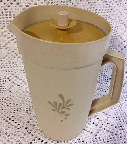 Almond Harvest Gold Vintage Tupperware 2 Quart Tan Pitcher with Push Top 800-3