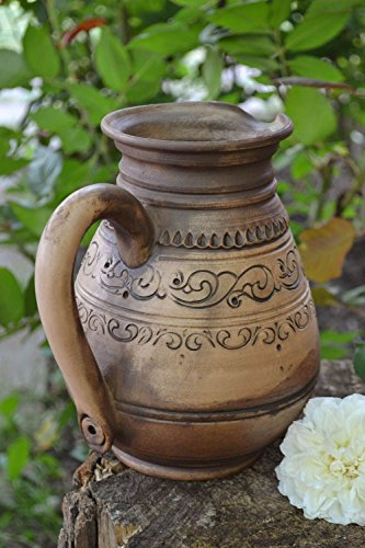 Ethnic ceramic handmade pitcher for water or wine for 15 l kilned with milk kitchen tools