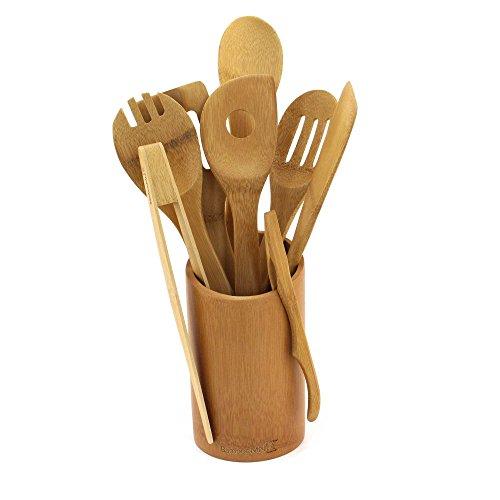 BambooMN - Bamboo Utensil Holder with 8 Piece Utensil Set - Carbonized Brown