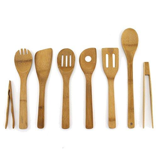 BambooMN Organic Bamboo Utensil Set Spatula Spoon Tongs - 8 Piece
