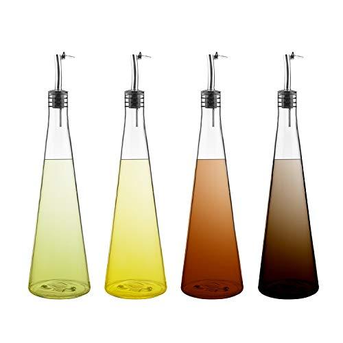 Fasmov 4 Pack 17 Oz Olive Oil and Vinegar Dispenser Set Olive Oil Dispenser Bottle Set for Kitchen Stainless Steel Pourer Spouts Funnel Cooking Oil Cruet