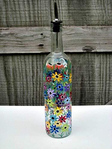 Hand Painted Dish Soap Dispenser Clear Wine Bottle Colorful Flowers Wine Bottle Soap Bottle Oil and Vinegar Bottle