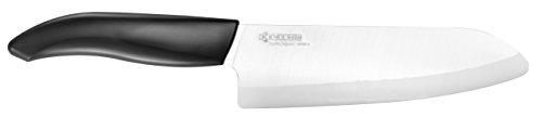 Kyocera Advanced Ceramic Revolution Series 6-inch Chefs Santoku Knife Black Handle White Blade