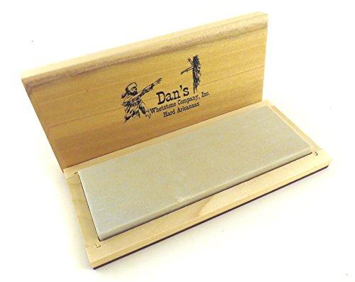 ArtMuseKitsMikash Genuine Arkansas Hard Fine Knife Sharpening Bench Stone Whetstone 6 x 2 x 12 in Wood Box FAB-62-C
