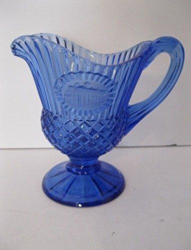 AVON VINTAGE FOSTORIA COBALT BLUE GLASS MT VERNON CAMEO FOOTED CREAMERPITCHER