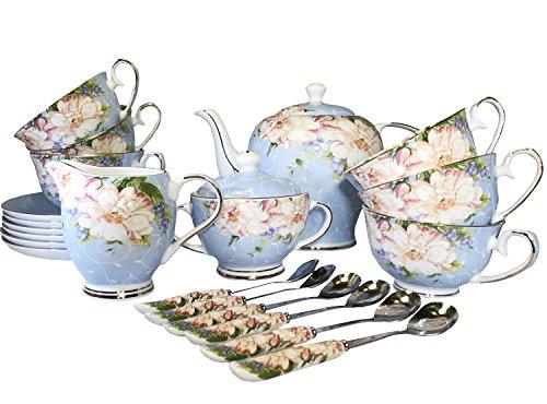 TTC European style Tea set Bone China Coffee set Ceramic Cup and Saucer Teapot Tea Service Creamer Pitcher Cream and Suger Set Service for 6 People 21 pcs