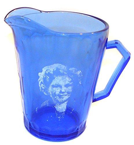 Vintage Hazel Atlas Shirley Temple Pattern Creamer Pitcher Cobalt Blue Glass