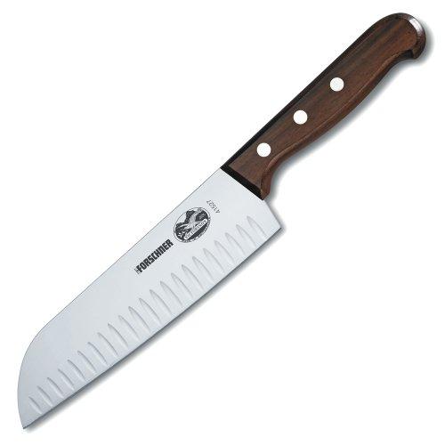 Victorinox 7 Inch Rosewood Santoku Knife with Granton Blade