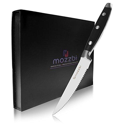 Mozzbi Steak Knives 6-Piece Cutlery Set Ultra-Sharp Stainless Steel Serrated Edge Steak Knife