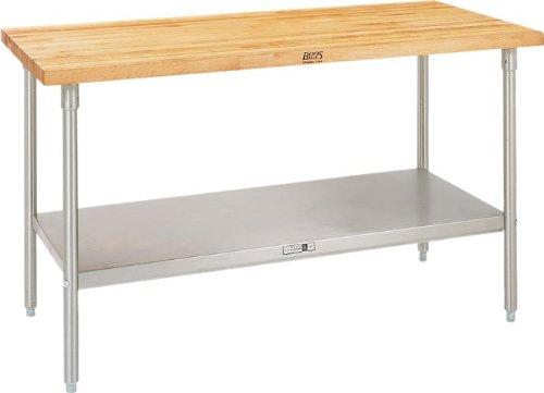 John Boos Maple Work Taple w Stainless Steel Base Shelf - 60 inch x 24 inchx 36 inch