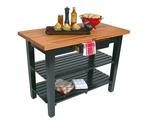 John Boos OC Oak Country Table - Blended Butcher Block Top 48W x 36D - Two Shelves Barn Red Base