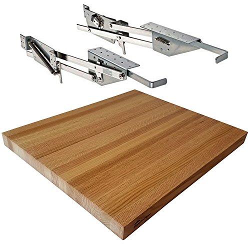 Rev-A-Shelf - RAS-ML-HDCR - Full Height Base Cabinet Heavy Duty Mixer Lift - BUNDLE OF 2 ITEMS includes a 1-12 x 18 x 21 Shelf Platform for 24 width Base Cabinet Red Oak Butcher Block - Trimmable