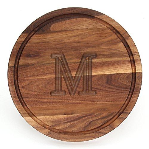 BigWood Boards W110-M Cutting Board Monogrammed Cutting Board Medium Round Cheese Board Thick Walnut Wood Serving Tray M